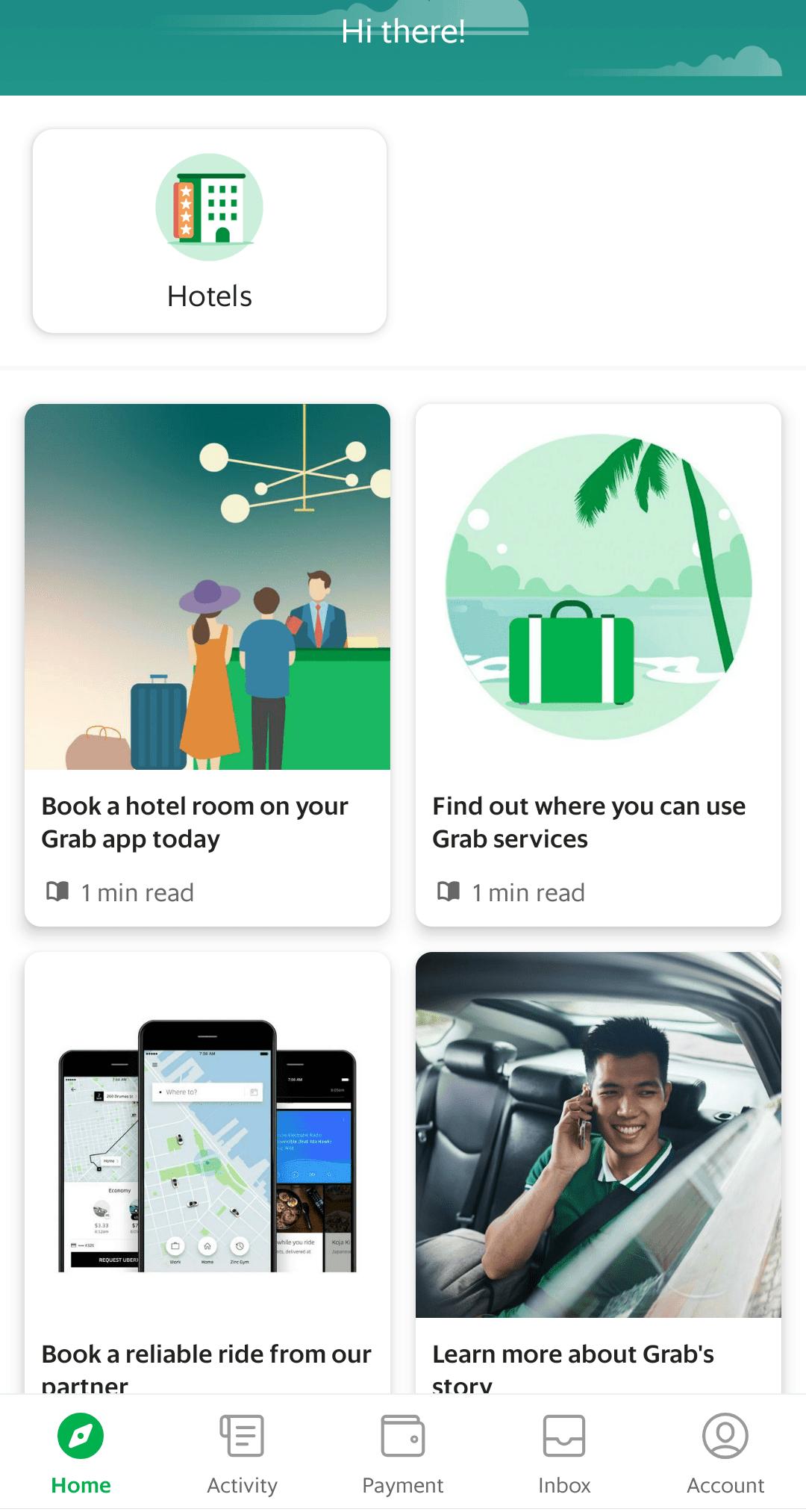 Reise Apps Grab Startseite