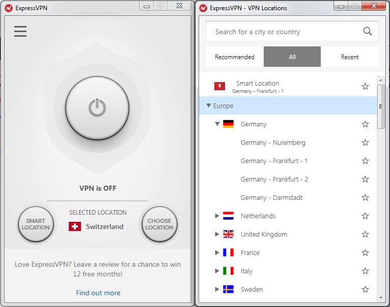 Screenshot der ExpressVPN-App, rechts daneben ein Fenster der App, von der aus Server ausgewählt werden können