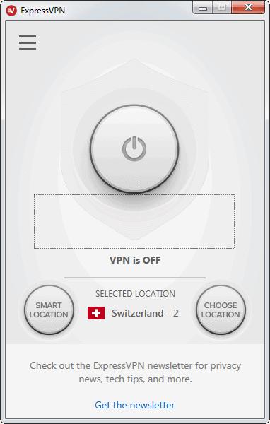 Screenshot der ExpressVPN-App mit Verbindungsknopf, Schweiz ist ausgewählt, aber noch nicht aktiviert