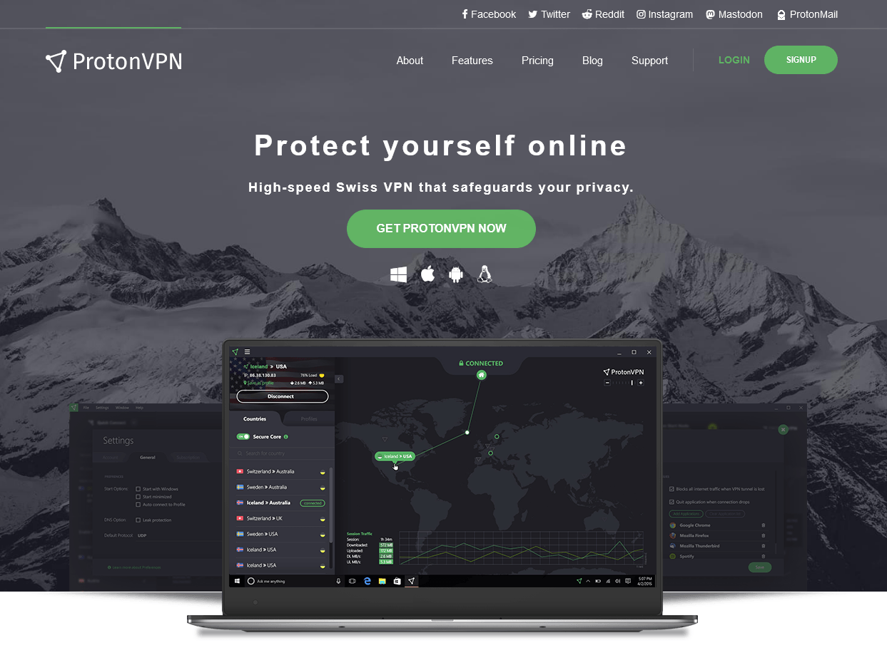 VPN Chile ProtonVPN Homepage