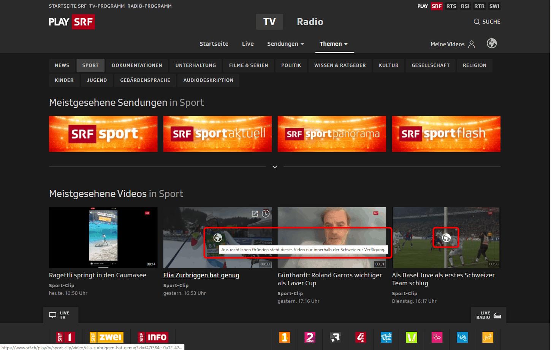 SRF-Livestream im Ausland – Programmübersicht, in der einige Clips anzeigen, dass sie nur innerhalb der Schweiz abspielbar sind