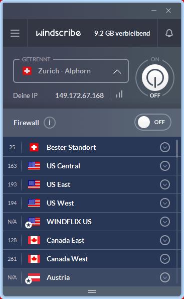 Screenshot der Windscribe-App mit Schweizer Server ausgewählt, aber (noch) nicht aktiviert