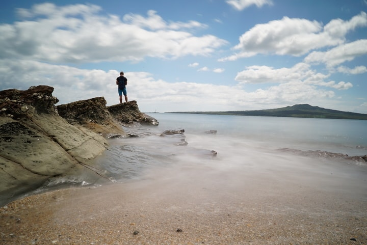 Arne auf Felsen am Strand