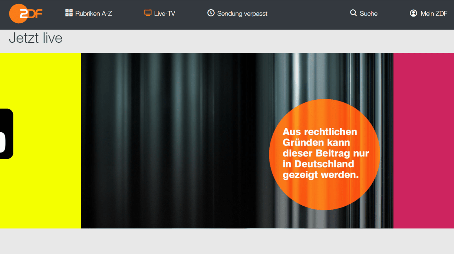 Geoblocking EU - ZDF Streaming Fehler