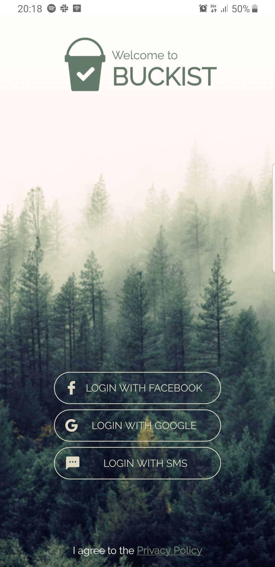 Bucket List Buckist App Anmeldebildschirm