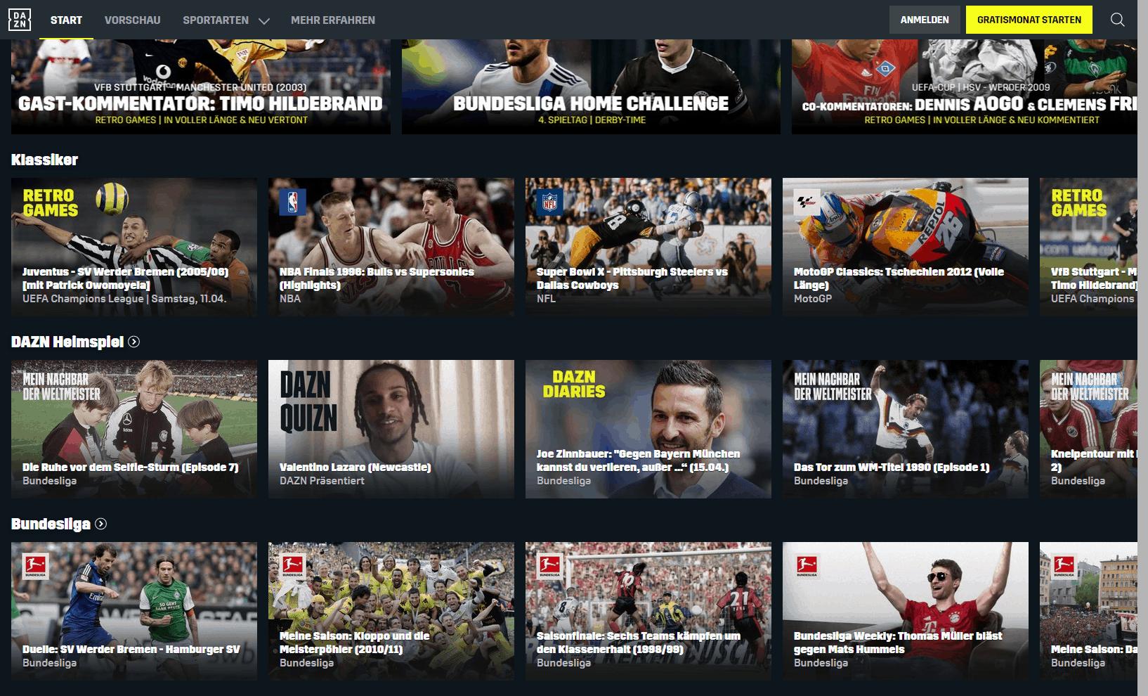DAZN Sport-Streaming-Dienst – Programmangebot auf DAZN