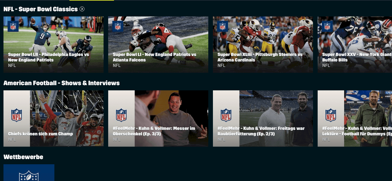 DAZN Sport-Streaming-Dienst – American Football