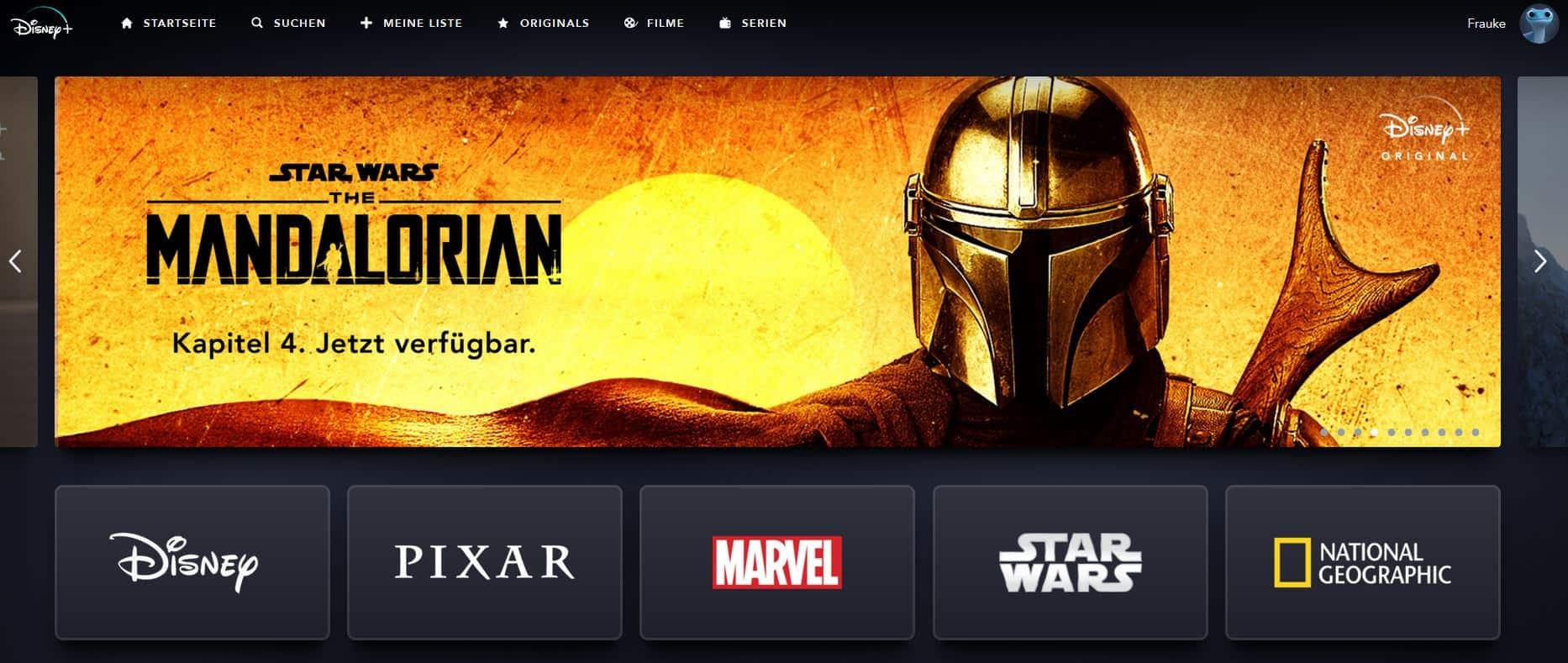 Screenshot der Disney+-Webpage, der die 5 Produktionsfirmen zeigt, die zum Disney Network gehören