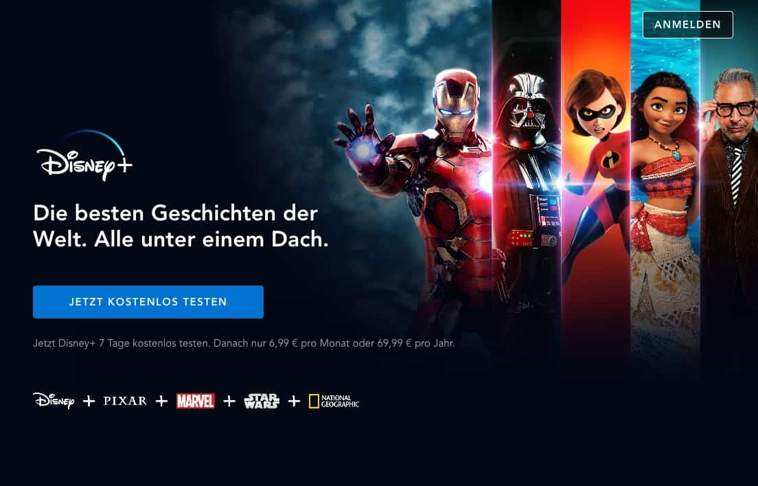Disney+ Homepage (deutsche Version)