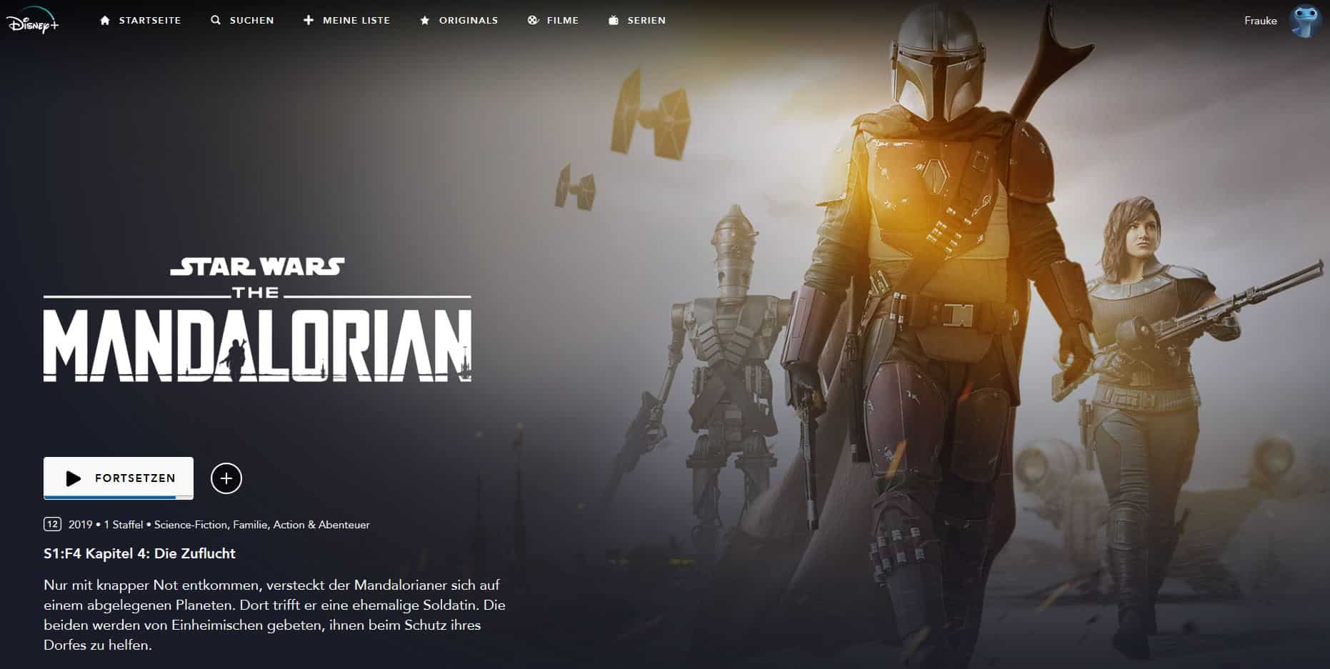 "Disney+ Programmseite der Serie ""The Mandalorian"" (deutsche Version)"