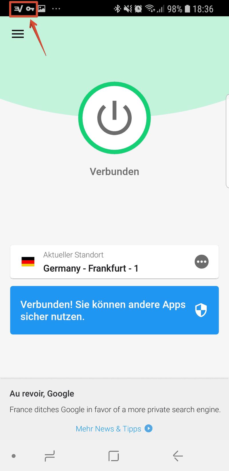 ExpressVPN App Startbildschirm - mit Server in Frankfurt verbunden
