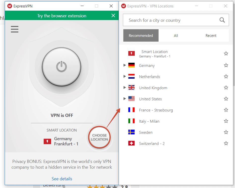 ExpressVPN Server Auswahl