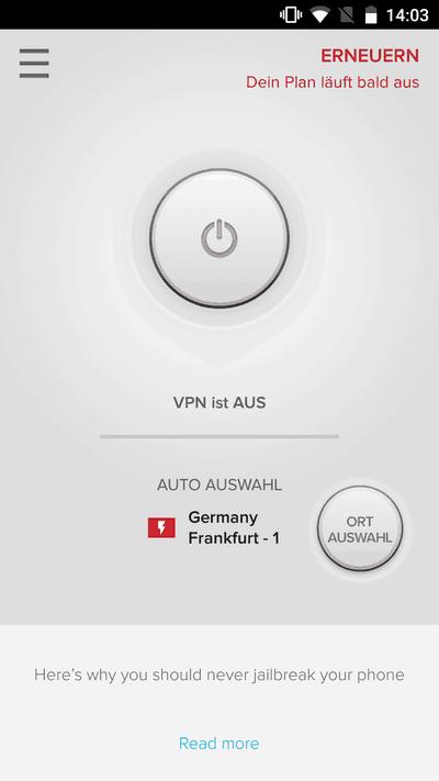 ExpressVPN App Startbildschirm