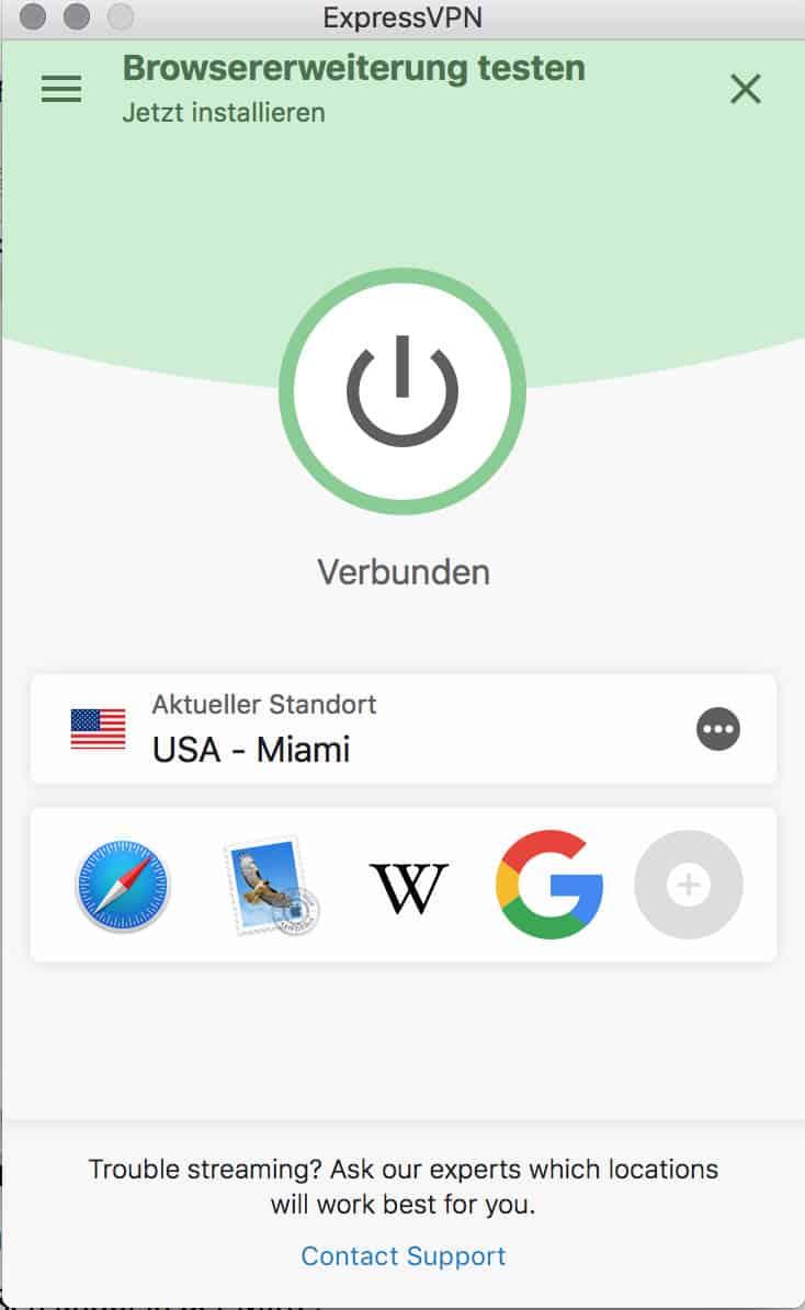 HBO in Deutschland – ExpressVPN-App Verbindung hergestellt