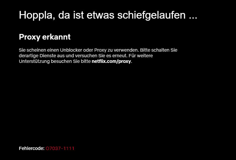 Netflix Geoblocking Proxy Erkannt