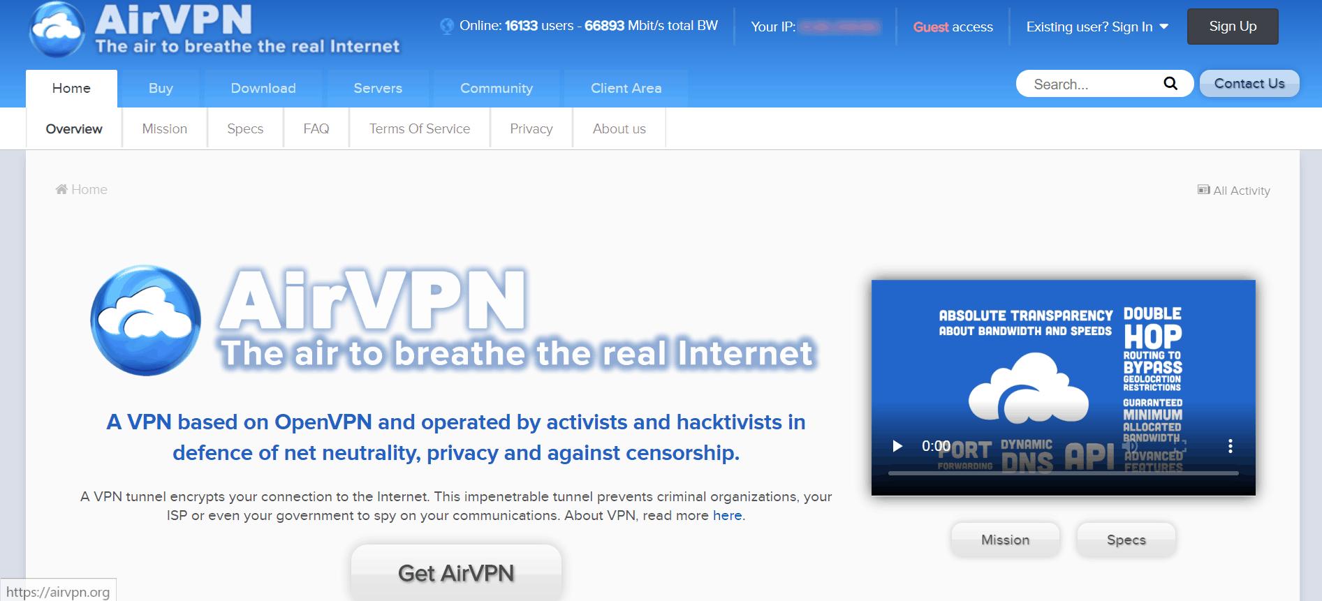Oesterreich VPN AirVPN Startseite