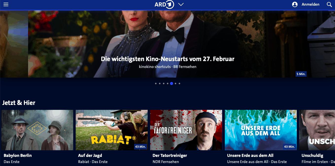 ARD-Mediathek aus dem Ausland streamen – ARD-Mediathek Startseite