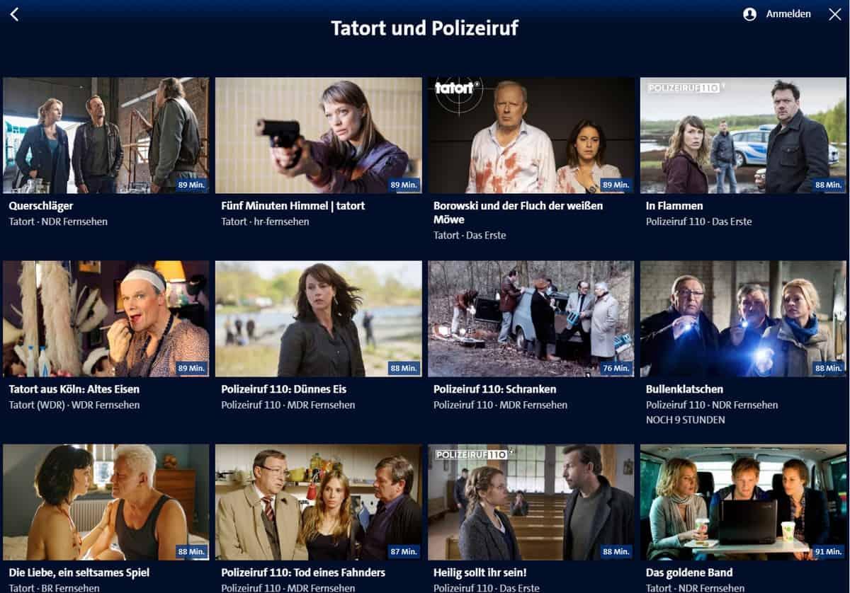 ARD-Mediathek aus dem Ausland streamen – Tatort-Startseite