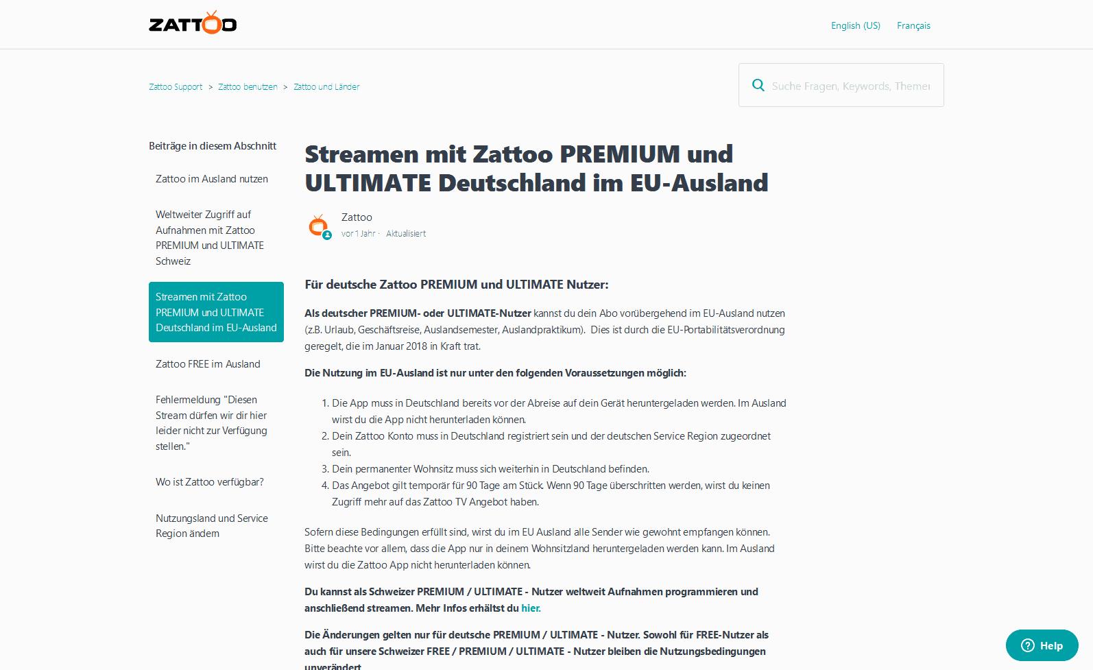 ARD-Mediathek aus dem Ausland streamen – Zattoo-Supportseite, die EU-Zugang erklärt