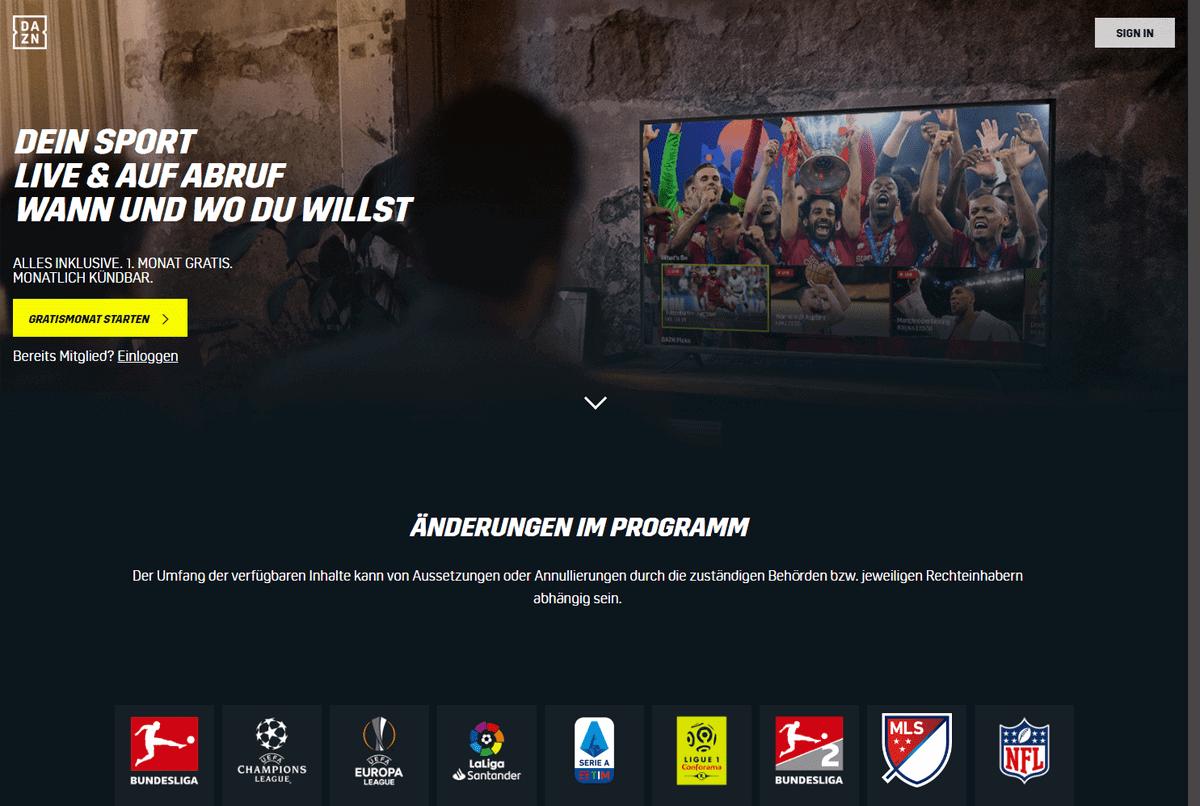Bundesliga im Ausland – Screenshot der DAZN-Website mit Gratismonat-Angebot