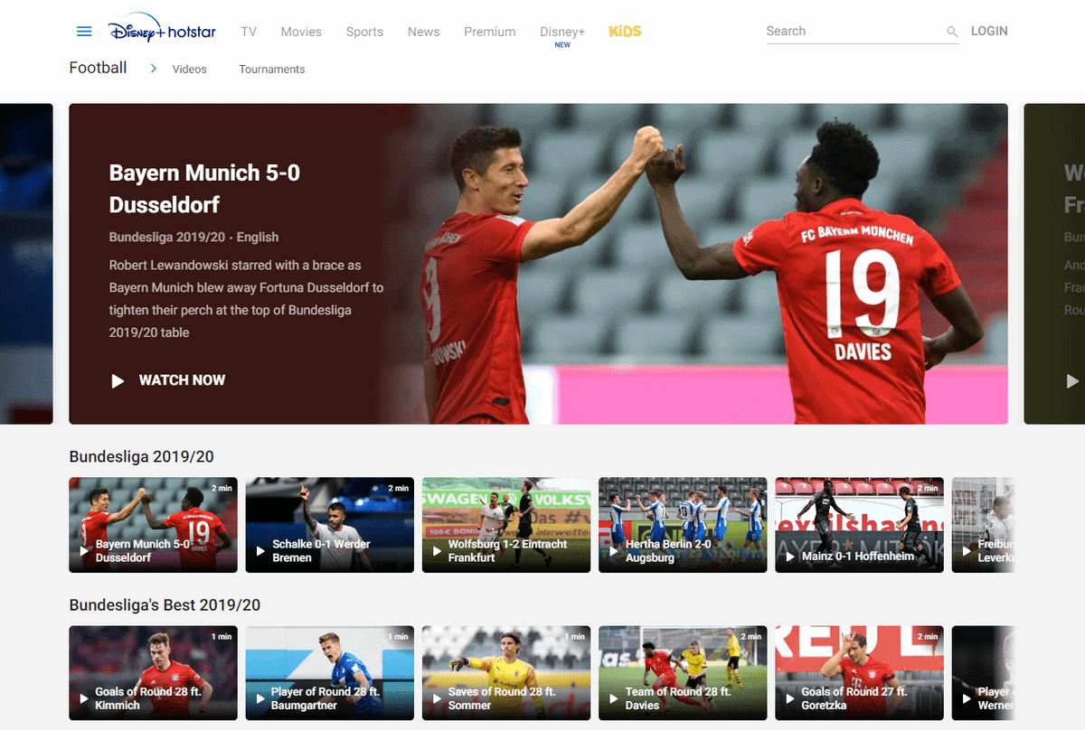 Bundesliga im Ausland –  Screenshot der Bundesliga-Programm-Seite von Hotstar Indien