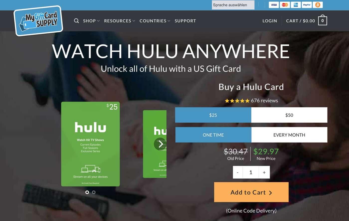 Hulu in Deutschland schauen – Geschenkgutschein kaufen