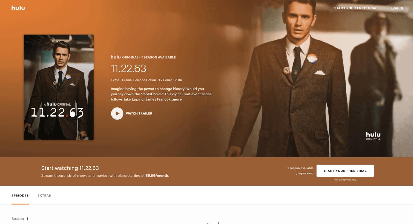 Hulu in Deutschland schauen – Programmseite der TV-Serie 11.22.63
