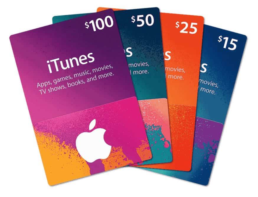 Hulu in Deutschland schauen – Abbildung verschiedener iTunes-Geschenkgutscheine