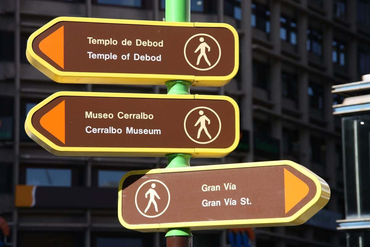 Madrid-Sehenswürdigkeiten – Richtungswegweiser für Fußgänger in Madrid