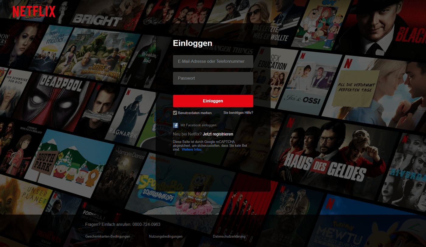 Netflix kündigen – Login Seite