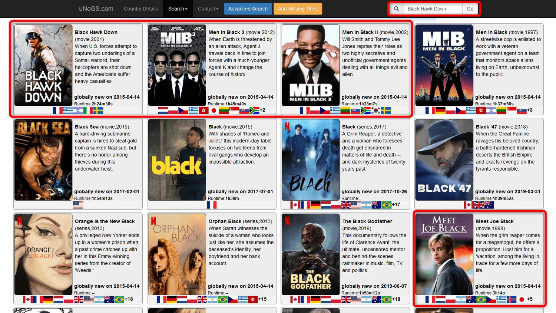 Netflix VPN Filmsuche UNOGS Black Hawk Down Min