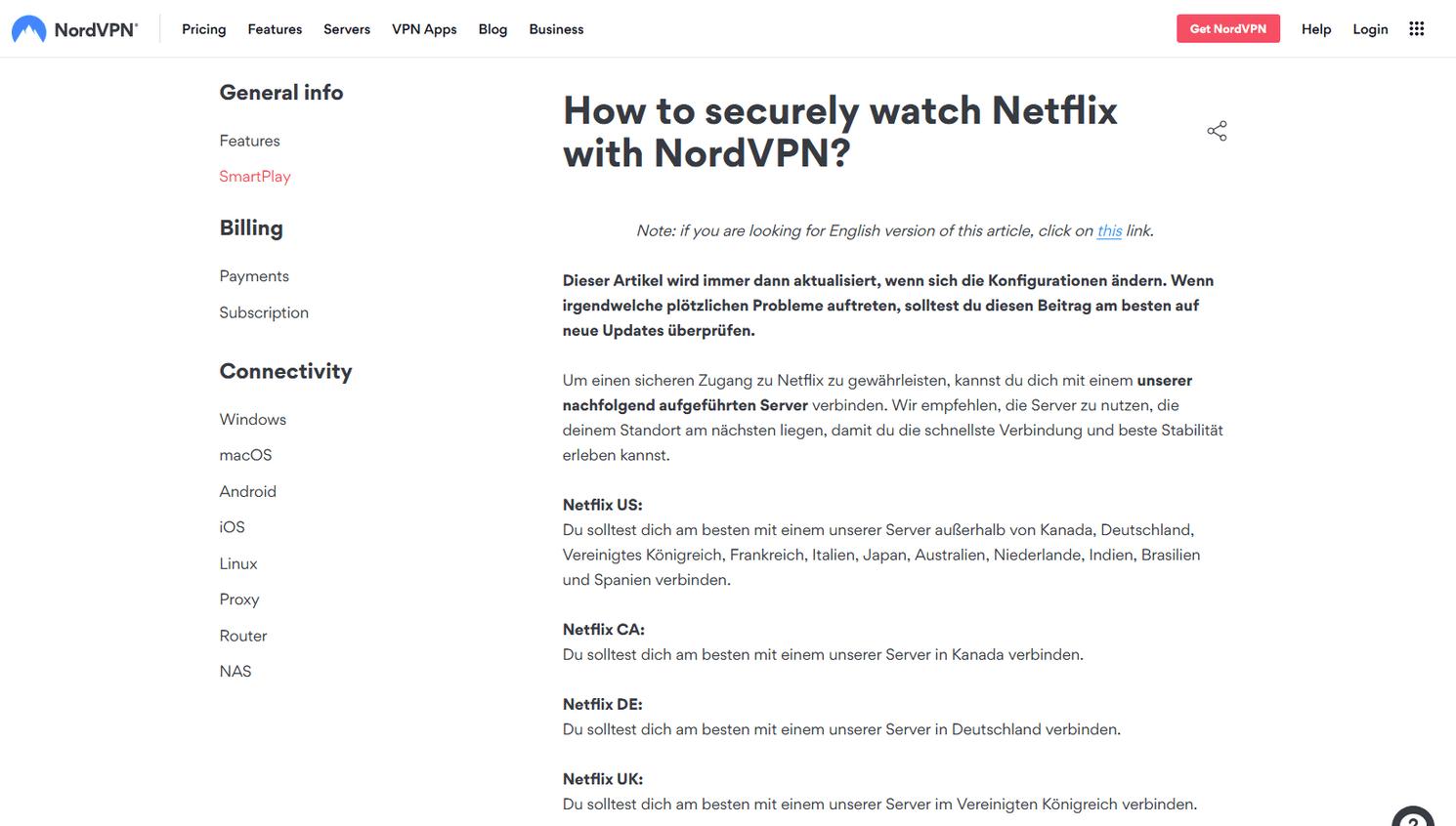 Beste VPNs für Netflix - Screenshot der NordVPN-Support-Seite für Netflix