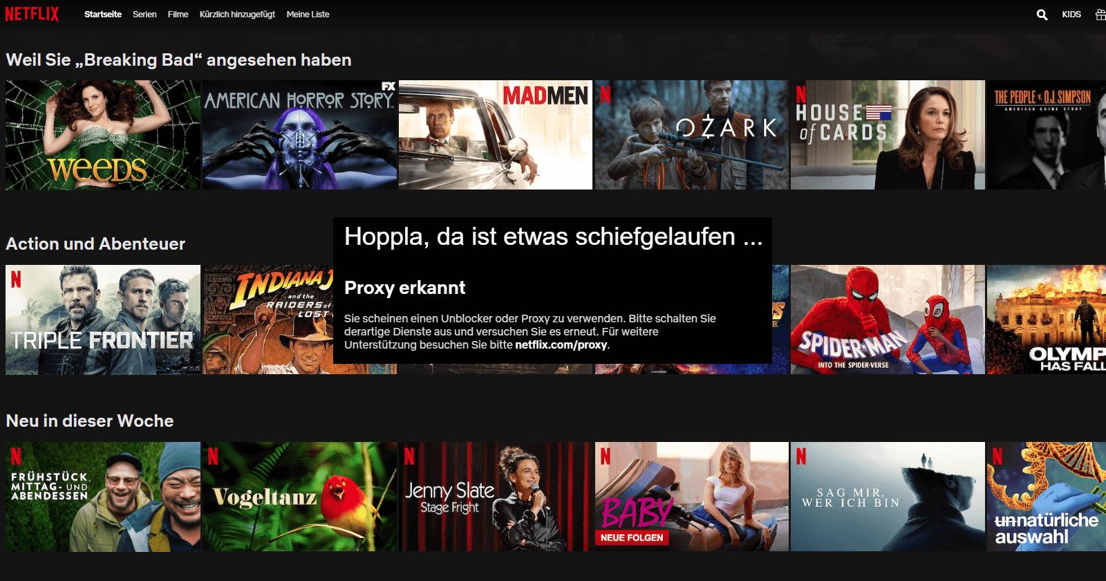Beste VPN fuer Netflix Geoblocking Proxy erkannt