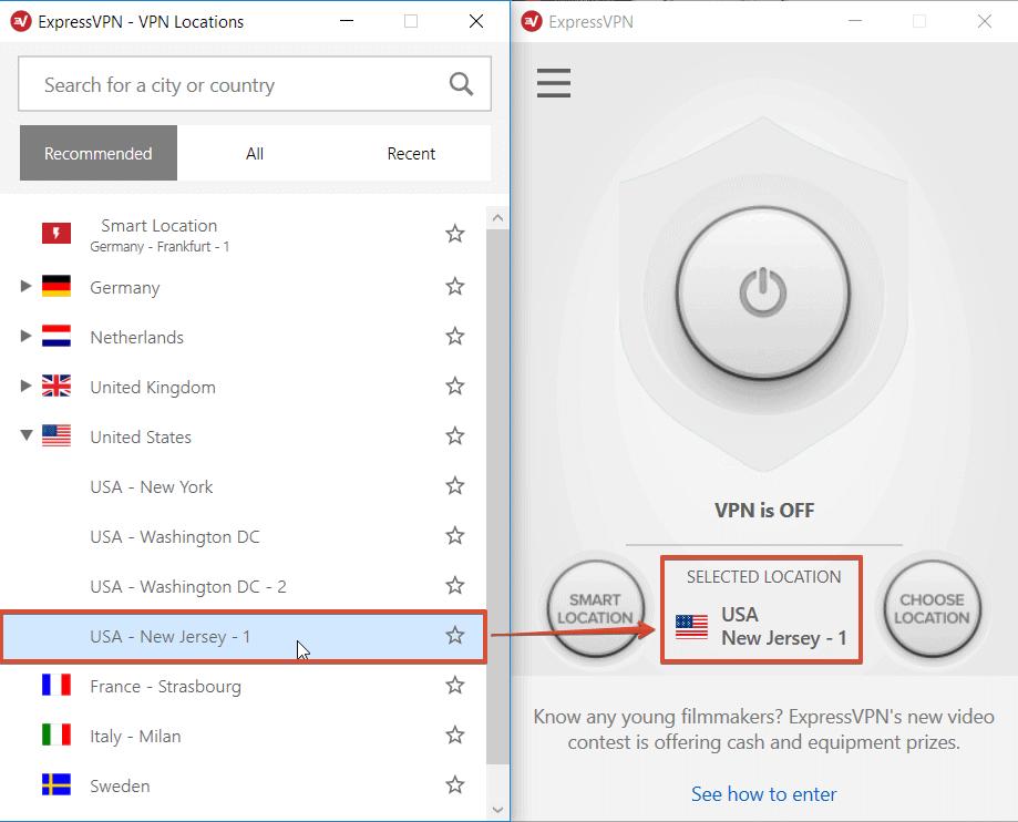 Netflix VPN-Sperre umgehen – Screenshot der ExpressVPN-App, ausgewählt ist der US-Server in New Jersey