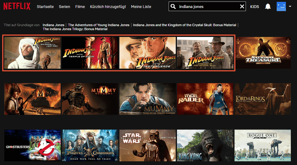 Amerikanisches Netflix Indiana Jones
