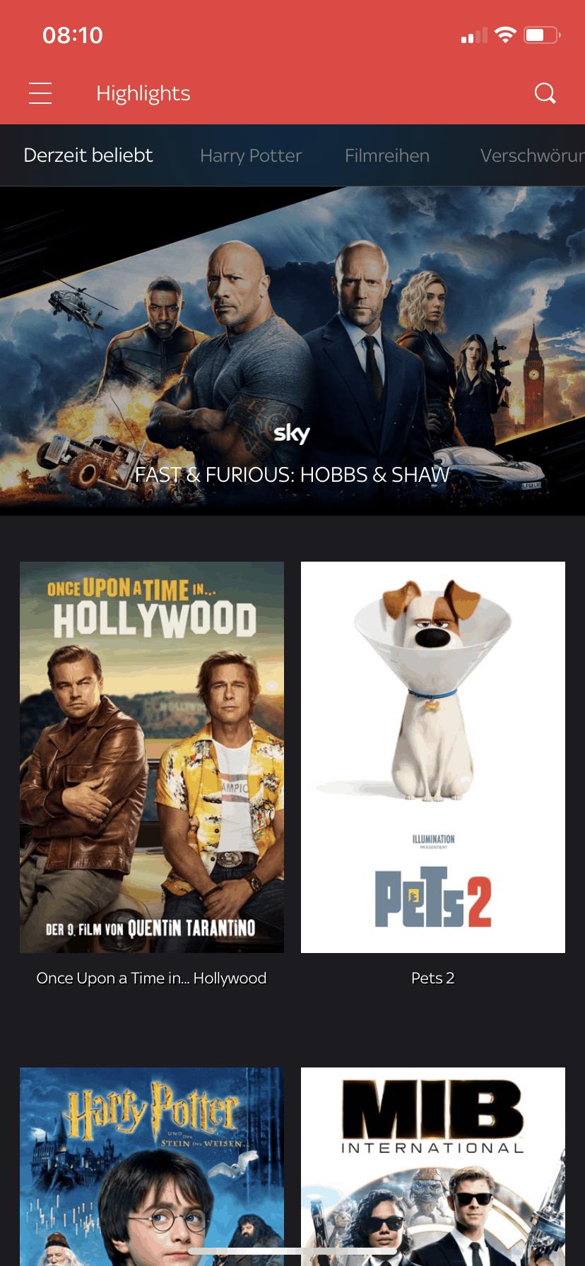 Sky Go im Ausland sehen – Screenshot Sky-App Cinema-Paket mit sichtbaren Filmtiteln