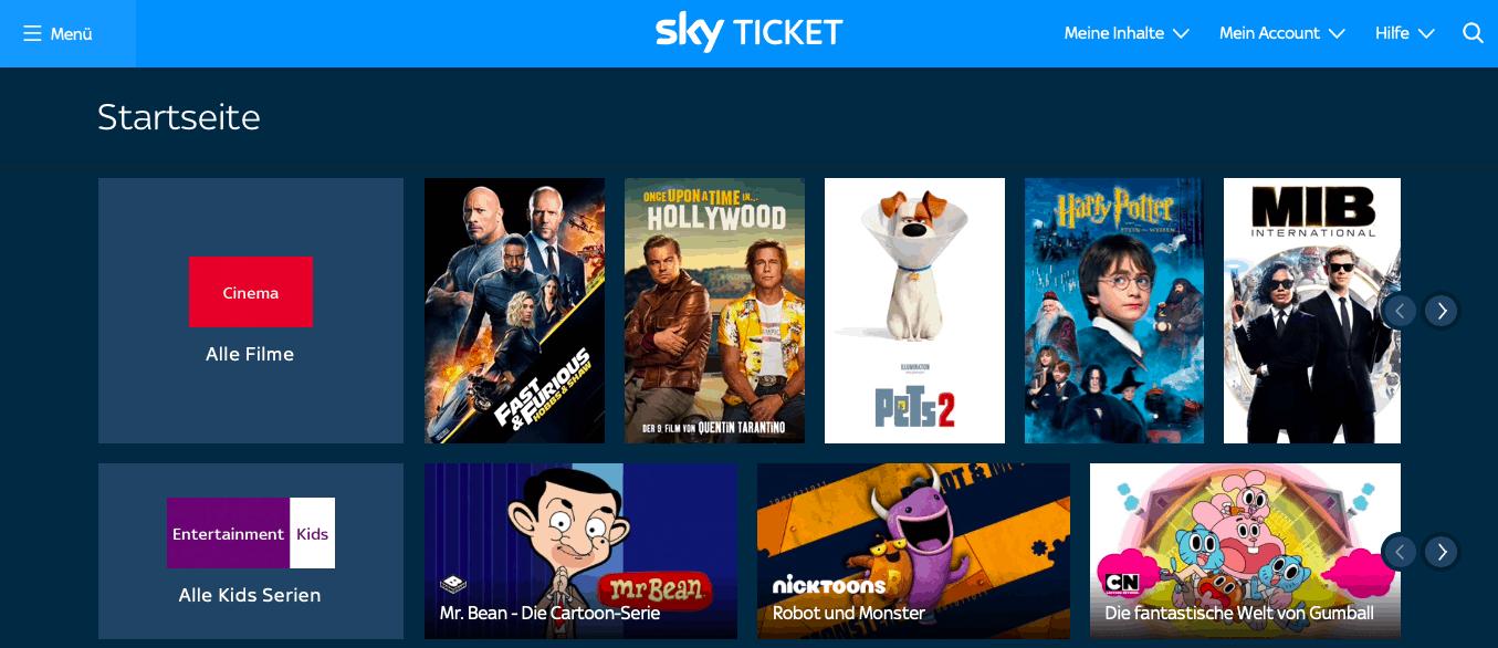 Sky Go im Ausland sehen – Screenshot Sky Ticket mit Entertainment- und Cinema-Kanal