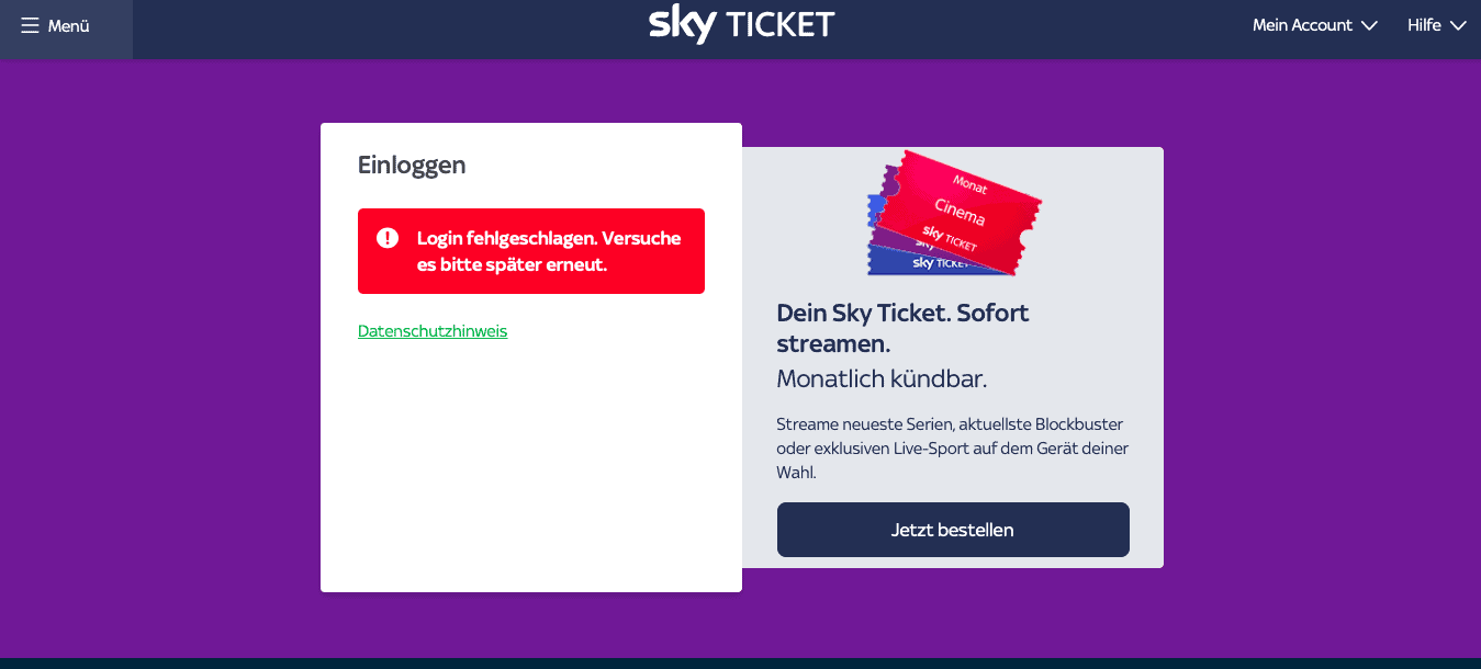 Sky Ticket Ausland