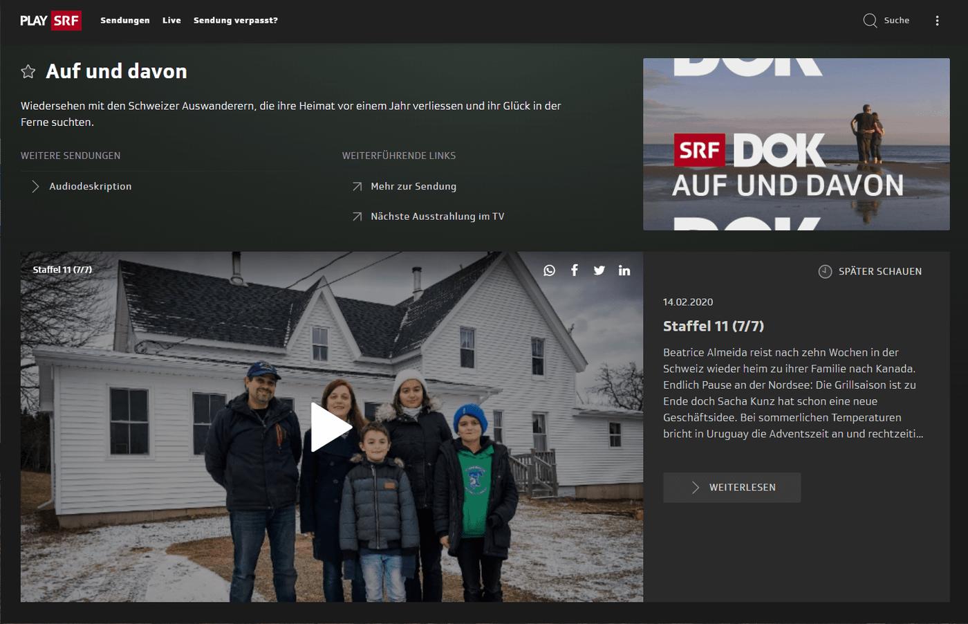 """SRF-Livestream im Ausland – Programmfenster der TV-Serie """"Auf und davon"""", 11. Staffel"""