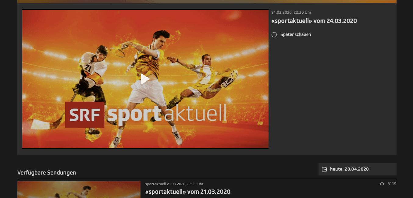 "SRF-Livestream im Ausland – SRF-2-Sportsendung ""sportaktuell"" Programmfenster"