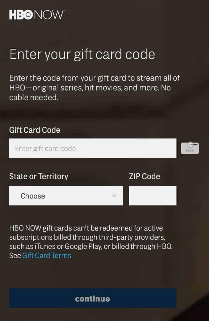 HBO in Deutschland – Geschenkkarte einlösen