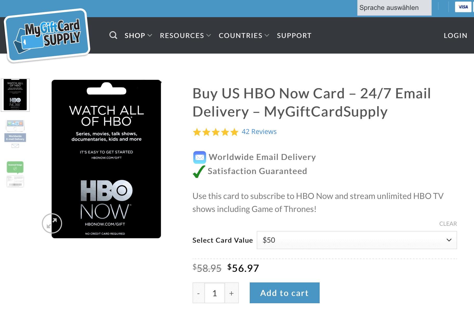 HBO in Deutschland – HBO-Karten von GiftCardSupply