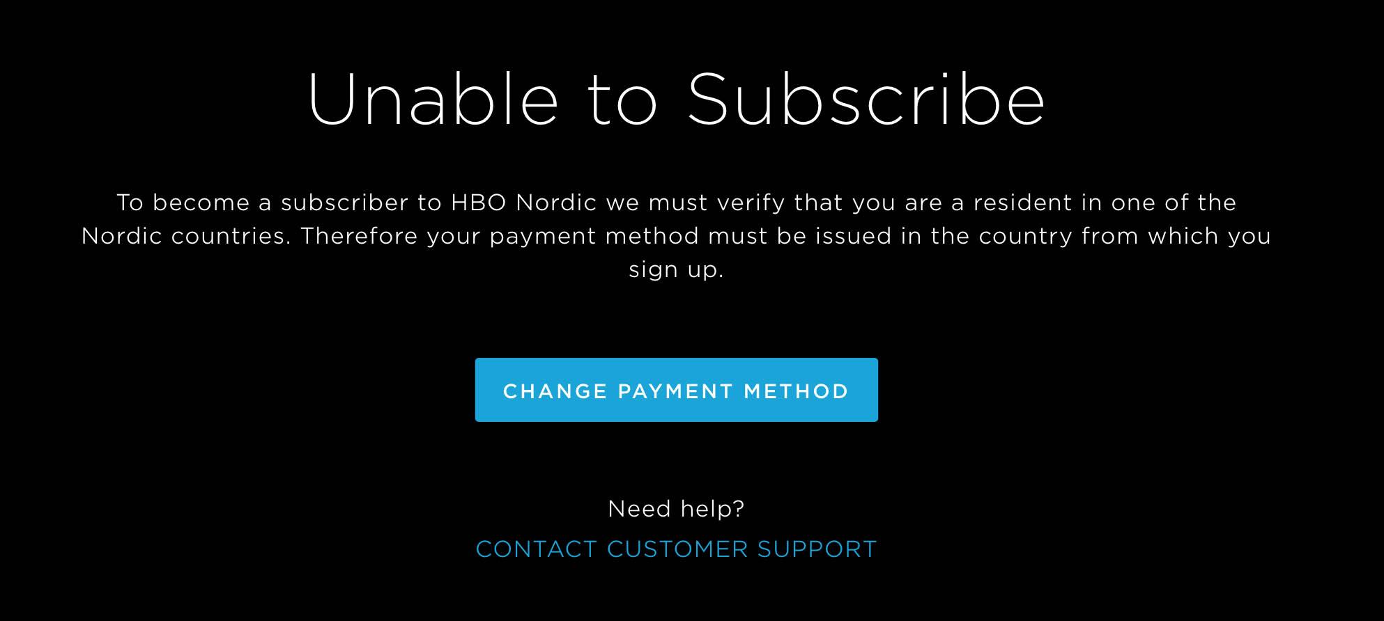 HBO in Deutschland – Screenshot einer Meldung auf HBO-Nordic wegen Zahlungsfehlers