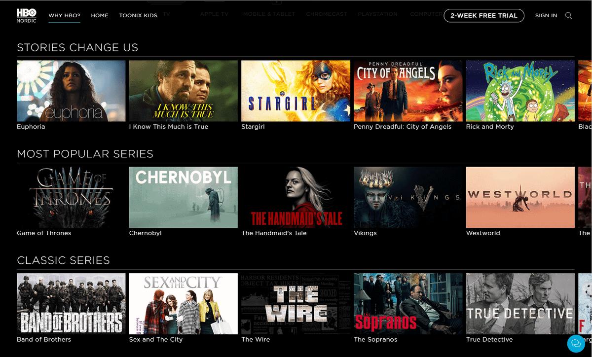 HBO in Deutschland – Screenshot der Serien-Programmübersicht auf HBO Nordic-Website