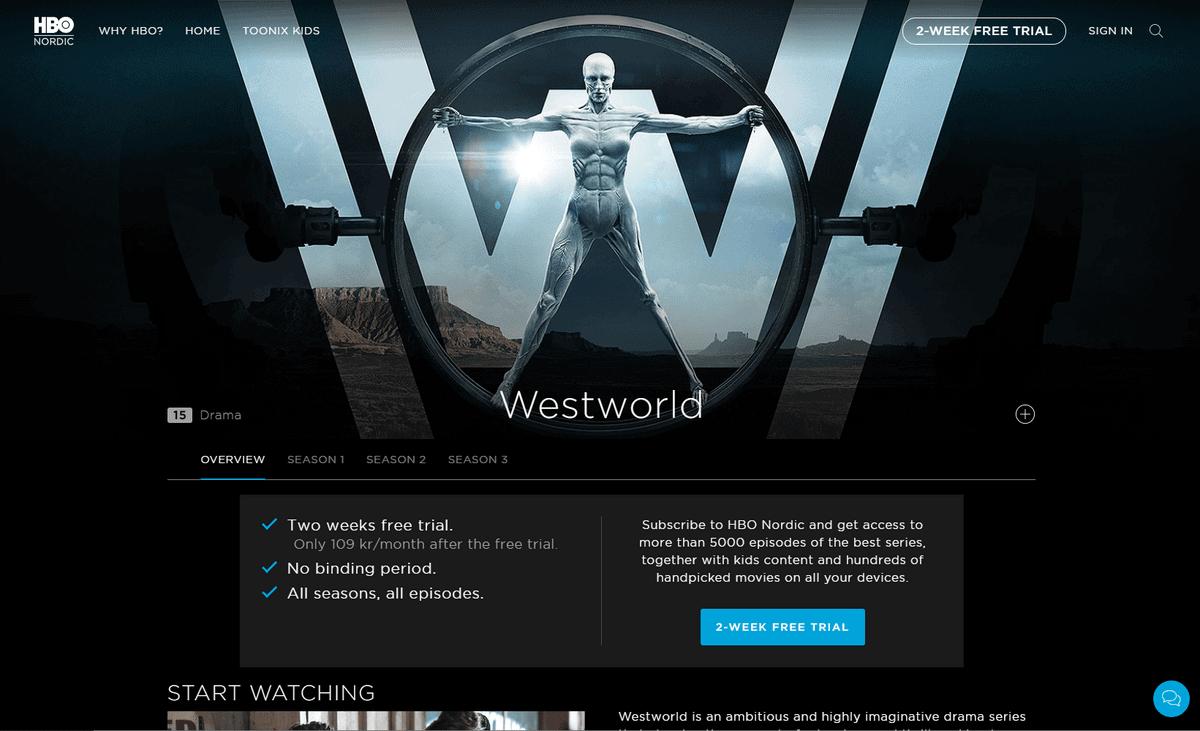 HBO in Deutschland – Screenshot der Programmseite von Westworld auf HBO Nordic-Website