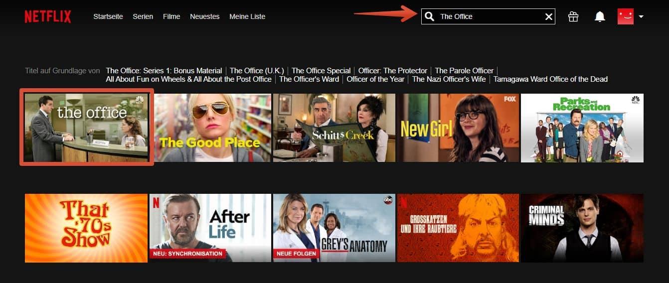The Office bei Netflix – Erfolgreiches Suchresultat nach der Serie auf Netflix