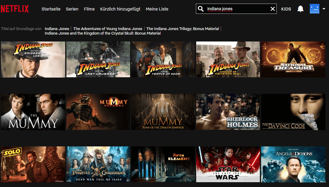 Netflix USA Indiana Jones Verfuegbar