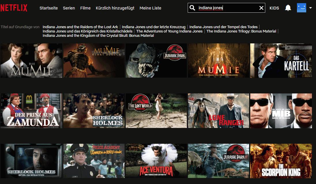 Netflix USA – Suche nach den Indiana-Jones-Filmen auf der deutschen Netflix-Website ist erfolglos