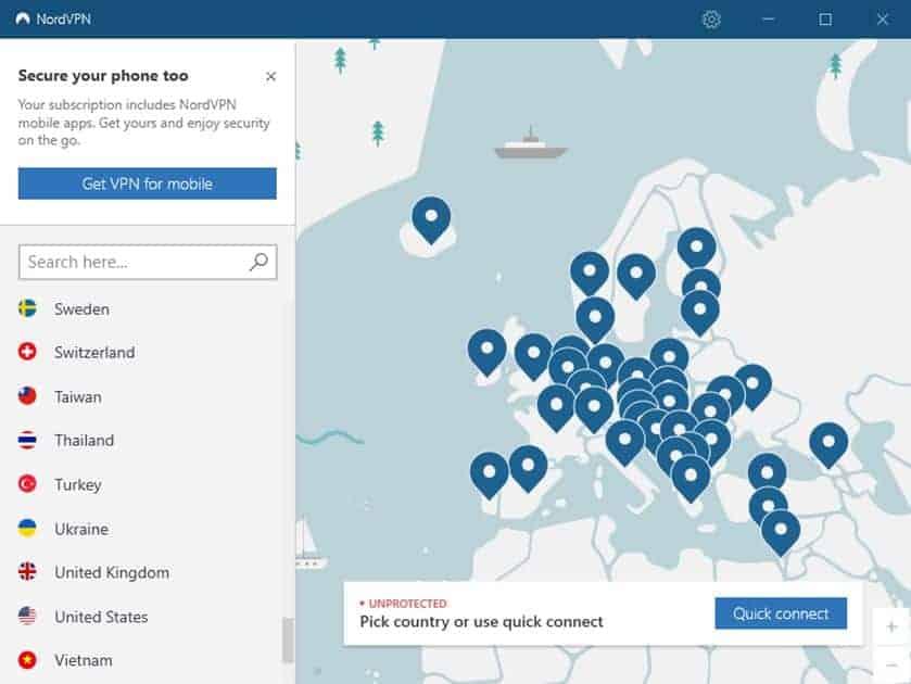 SRF-Livestream im Ausland – Server in der NordVPN-App auswählen