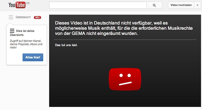 YouTube Ländersperre GEMA Meldung